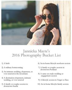 Jannicka Mayte's 2016 Photography Bucket List // Pacific Northwest Lifestyle Photographer
