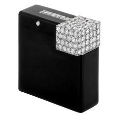 Art Deco Black Enamel and Diamond Cigarette Lighter, Cartier, Paris belonging to Consuelo Vanderbilt Smith Warburton Earl