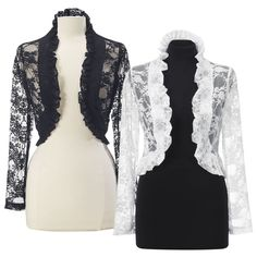 "Pyramid Collection Dashwood Lace Jacket - Shown In Black & In White  ***********""Dashwood. Sense and sensibility in a classic design! This feminine jacket is frothily smock-edged all around to draw the eye and grace your every move. Long sleeves. Nylon/spandex."""