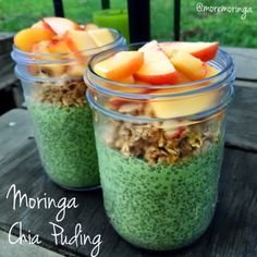 Overnight MORE Moringa chia pudding. 2 cups of almond milk, lemon balm leaves ( you can also use peppermint leaves instead ) 2 teaspoons of #moremoringa powder 1 teaspoon of vanilla extract 1 tablespoon of shredded coconut 1 tablespoon of maple syrup. Blend all ingredients and pour the liquid in 2 jars. Add 3 tablespoons of chia seeds per jar mix and place in the refrigerator until next day!