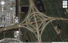 This perfectly symmetrical highway interchange.