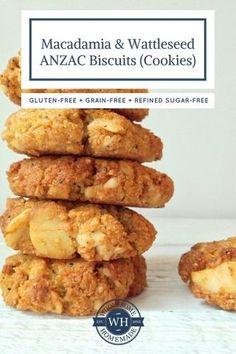 Macadamia and Wattleseed ANZAC Biscuits: Gluten-free, grain-free. Biscuit Cookies, Biscuit Recipe, Almond Recipes, Baking Recipes, Keto Recipes, Healthy Biscuits, Native Foods, Anzac Biscuits, Waffle Sandwich