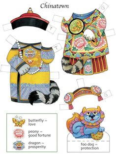 Dover Lucky Cats Paper Dolls Costume 4