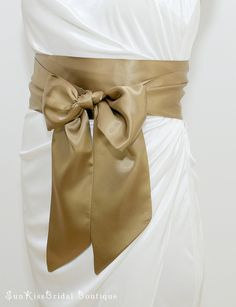 SALE Simple Bridal Satin Sash in Antique Gold,Champagne,White,Navy or Black,4 inch Wide,Bridesmaids Belt. $20.00, via Etsy.