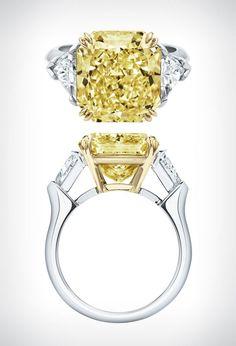 'Classic Winston' yellow diamond ring by Harry Winston