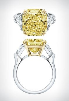 'Classic Winston' yellow diamond ring by Harry Winston