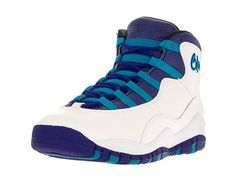 d02384e2df57 Nike Grade-School Air Jordan X 10 Retro White Concord-Blue Lagoon-Black  Size Boy s