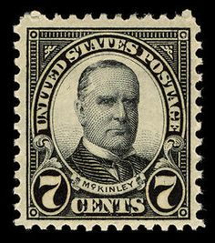 William McKinley of Ohio (1843-1901), the president of the United States who lead the nation during the Spanish-American War and who was felled by an assassin at the Pan-American Exposition in Buffalo, New York, appears on the 7-cent stamp.