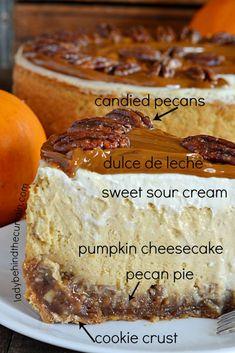 Pecan Pie Pumpkin Cheesecake Enjoy a pie and cheesecake all in one creamy delicious dessert! Köstliche Desserts, Delicious Desserts, Dessert Recipes, Yummy Food, Health Desserts, Dinner Recipes, Food Cakes, Cupcake Cakes, Pecan Pie Cheesecake