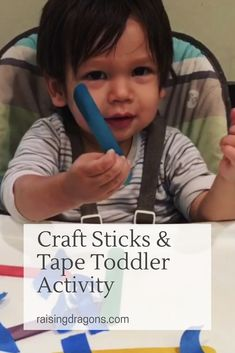 Craft Sticks & Tape Toddler Activity is a perfect activity for toddlers to develop fine motor skills and keep them entertained! Educational Activities For Toddlers, Sensory Activities, Infant Activities, Sensory Bins, Sensory Play, Free Games For Kids, Learning Games For Kids, Kids Fun, Craft Sticks