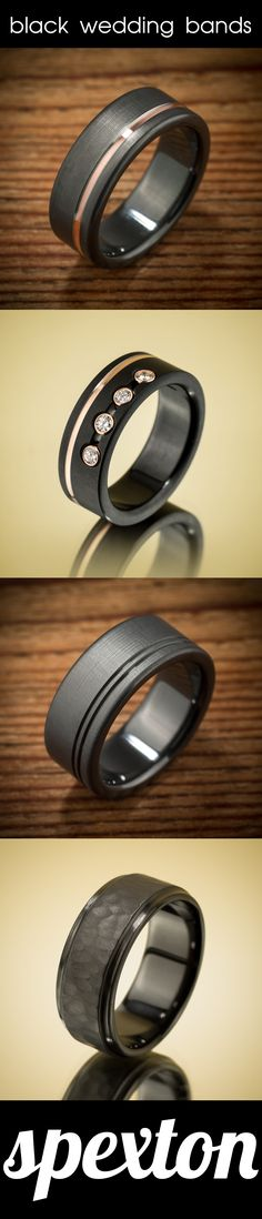 Spexton black zirconium wedding bands are: Extremely durable, shatterproof, totally handmade to order in the USA, customizable, easy to cut off if necessary, and unlike ANYTHING you can buy at a jewelry store (except the Spexton store).