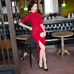 New Arrival Women's Lace Cheongsam Fashion Chinese Style Dress Elegant Slim Long Printing Qipao Size S M L XL XXL XXXL F090908