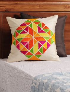 Buy Cream Multi Color Phulkari Embroidered Silk Cushion Cover X Home… Cushion Cover Pattern, Cushion Cover Designs, Cushion Covers, Pillow Covers, Cushion Embroidery, Hand Embroidery, Embroidery Designs, Embroidery Fashion, Diy Pillows