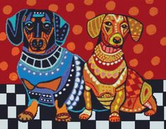 Modern Cross Stitch Kit 'Dachshund Dogs' By Heather Galler - Counted Cross Stitch Dog Art