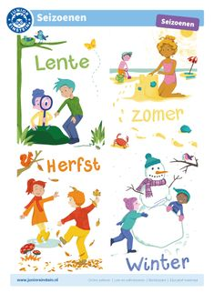Seizoenen - In de herfst vallen de bladeren van de bomen, in winter is het koud en kan het sneeuwen, in de lente krijgen de schapen lammetjes en leggen vogels eieren en in de zomer kunnen we lekker naar het strand. Leer de seizoenen kennen met dit ondersteunende materiaal. Tip: download de kaart en praat samen over de seizoenen. Dit is goed voor het ontwikkelen van tijdsbesef! Je kunt ook op een blad alle woorden schrijven die passen bij een seizoen. Math Classroom, Activities For Kids, Homeschool, Comics, Languages, First Language, Vocabulary, Kid, Children Activities