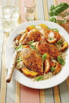 Basil-Peach Chicken Breasts | We've rounded up our favorite, easy ways to prepare chicken. Chicken is arguably the South's favorite protein to put on the dinner table. We love it for it's nutritional value, accessibility, low cost, and—most importantly—extreme versatility. This much-loved poultry serves as a blank slate and flavor-absorbing foundation for every type of cuisine imaginable. It can be roasted, pan-seared, grilled, and even cooked in a Southerner's favorite fashion—hand-breaded…