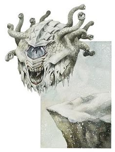 Isitoq (Inuit) - Also known as Cold Stare, Frost Eyes and Ice Watchers, these eyeball-like horrors are the spies and guardians of the vile Snow Queen. Their cold stares can freeze a creature into a thick layer of magical ice, they rarely kill interlopers, but mostly bring their icy statues before their Queen who collects them. The Snow Queen can also look through any of their many eyes and speak through their mouths.
