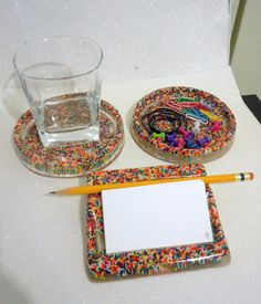 Full Office Set, 2 Coasters and Business Card Holder, Rainbow Sprinkles, Desk Accessory, made to order. $35.00, via Etsy.