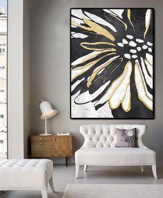 Minimal Flower Art #MN306B from CZ Art Design, Abstract art, black, white and gold, minimalist art @CelineZiangArt #moderninteriors #contemporaryhome