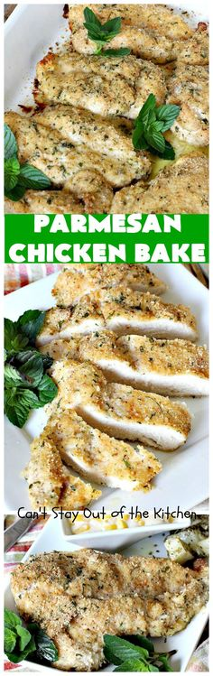 Parmesan Chicken Bake is our favorite chicken dish. It's made with a simple breading from Italian bread crumbs, parmesan cheese, thyme,. Parmesan Crusted Chicken, Baked Chicken, Turkey Recipes, Chicken Recipes, Chicken Ideas, Food Dishes, Main Dishes, Baked Turkey, Cooking Recipes