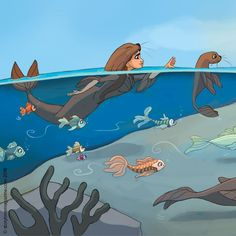 Have you heard of selkies – seals who can change into humans? Read all about them in Storytime Issue 21's folk tale, The Selkie Wife. Illustration by Evelyne Duverne (http://www.evelyneduverne.com) ~ STORYTIMEMAGAZINE.COM