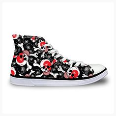 FOR U DESIGNS Black Hi-Top Canvas Shoes Skull Casual Fashion Sneaker for Men Lace Up US 12 (*Partner Link)