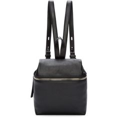 Kara Black Pebbled Leather Small Backpack ($375) ❤ liked on Polyvore featuring bags, backpacks, black rucksack, rucksack bag, black bag, zip handle bags e zip bags