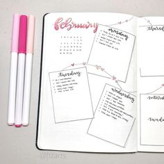 Bullet journal weekly layout, heart drawings, string of hearts drawing, overlapping dailies, hand lettering. | @hzarts