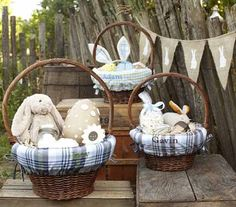 easter basket with soft toys
