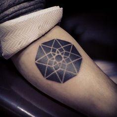 Hypercube projection. Galina Somique, Bishkek, Kyrgyzstan geometric tattoo