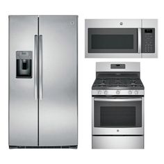 GE Appliances 3-Piece Kitchen Package with Gas Range in Stainless Steel