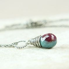 Anyolite Necklace    Oxidized Silver      Teardrop  by Hildes