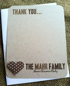 Thank you cards - CUSTOM - Family Name - MODERN - Stationary - Heart - From Us - Recycled  - Eco - New Baby - New Parents - Set of 20