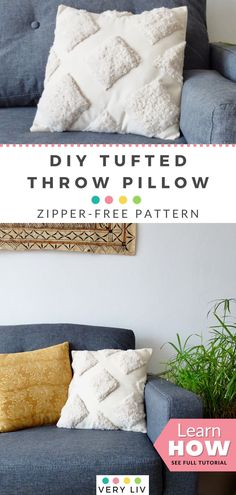 Click to find out how to make this zipper-free DIY Tufted Throw Pillow with faux sheep fur and linen, because everything is better tufted… #DIY #Tufting #HomeDecoration Diy Pillows, Decorative Pillows, Decorative Mirrors, Cushions, Throw Pillows, Pillow Set, Throw Pillow Covers, Sewing Machine Thread, Fabric Scissors