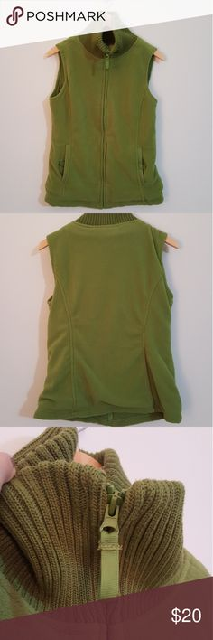 Fleece Vest Gorgeous green. Turtleneck ribbed sweater neck. In excellent condition! Button closure pockets. Plaid shirt in last photo for sale in separate listing.  'ADD TO BUNDLE' and I will send you a private offer! Susan Bristol Jackets & Coats Vests