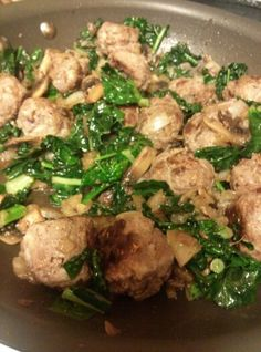 Beef meatballs with mushroom, onions and kale