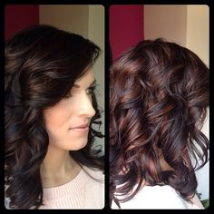 Super rich dark chocolate color with bright amber highlights, finished off with layers and flowing curls.