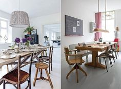 wooden tables & chairs.