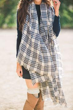 Scarves for women, blanket scarf, navy and cream scarf, plaid scarf, oversized scarves, fall accessories, fall staples, Morning Lavender