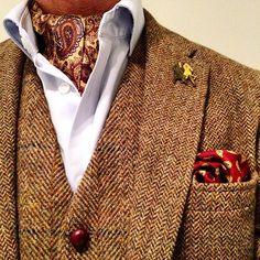 Yesterday's paisley and herringbone silk and tweed fest