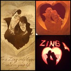 """For a Zing only happens once in your life."" Hotel Transylvania. This years pumpkin carving!"