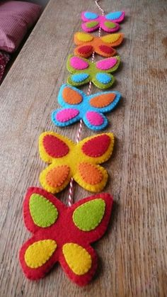 Colorful felt butterfly garland by HetBovenhuis on Cute Crafts, Felt Crafts, Easter Crafts, Fabric Crafts, Sewing Crafts, Sewing Projects, Craft Projects, Crafts For Kids, Arts And Crafts