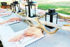 Nautical Tablescape - Birthday Party for Men l Beach Party Themes and Ideas l www.CarolinaDesigns.com