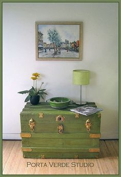 Green and gold steamer trunk, vintage luggage www.portaverdestudio.com www.facebook.com/portaverdestudio
