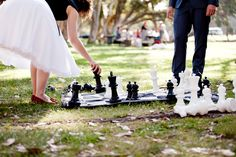 Giant Chess for the wedding reception  Photo by Imajica Photography