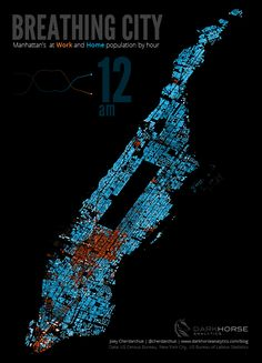 NYC Come To Life In Mesmerizing Visualization A visualization of the work and life cycle of Manhattan (see the CBD glow!)A visualization of the work and life cycle of Manhattan (see the CBD glow! Information Design, Information Graphics, 3d Data Visualization, Manhattan Map, Urban Analysis, Map Design, Graphic Design, City Maps, Microsoft Excel