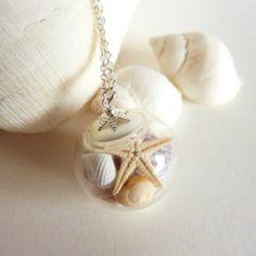 Sea Shell Jewelry, Seashell, Starfish Necklace, Globe Necklace, Beach Wedding, Bridesmaid Jewelry
