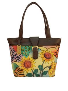 Sunflower Safari Large Shopper  #bags #handpainted #painted #handbag #fashion #floral #canvas #spring