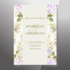 Premium Vector | Elegant wedding invitation floral design Wedding Invitation Card Template, Elegant Wedding Invitations, Floral Tie, Floral Design, Photo Online, Reception, Things To Sell, Frame, Vectors