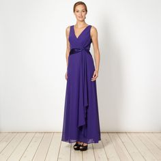 This purple waterfall maxi dress from Debut has a satin twist front design with a wrap over V neck. It comes in a relaxed fit with a lightly flared hem and has a concealed side zip fastening. Wedding Bridesmaids, Bridesmaid Dresses, Wedding Dresses, April Wedding, Our Wedding, Purple Satin, Debenhams, Front Design, Purple Wedding